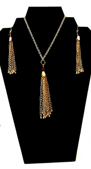 Necklace:Earring Set Tassels 01